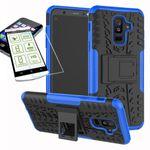 Hybrid Case 2teilig Blau für Samsung Galaxy A6 Plus A605 2018 + Hartglas Tasche Hülle Cover