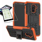 Hybrid Case 2teilig Orange für Samsung Galaxy A6 Plus A605 2018 + Hartglas Tasche Hülle Cover
