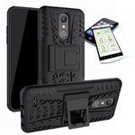Für LG K11 2018 Hybrid Case 2teilig Schwarz + Hartglas Tasche Hülle Cover Hülle