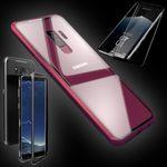 Für Samsung Galaxy S9 Magnet / Metall / Glas Tasche Case Rot / Transparent + 0,3 4D Curved H9 Hart Glas
