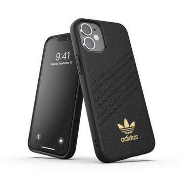 Adidas Apple iPhone 12 Mini Premium Leder Case Cover Schutzhülle Schwarz
