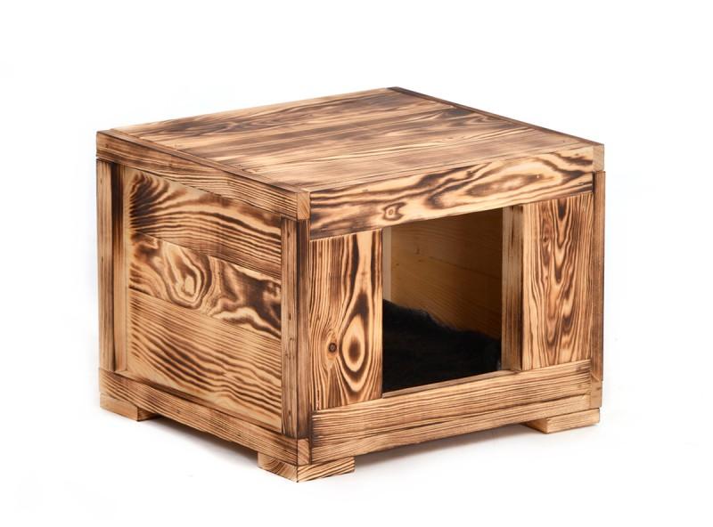 "Tier-Höhle Katzen-Höhle Hunde-Hütte ""Woody"" für Katzen oder kleine Hunde aus Voll-Holz in rustikaler Optik"