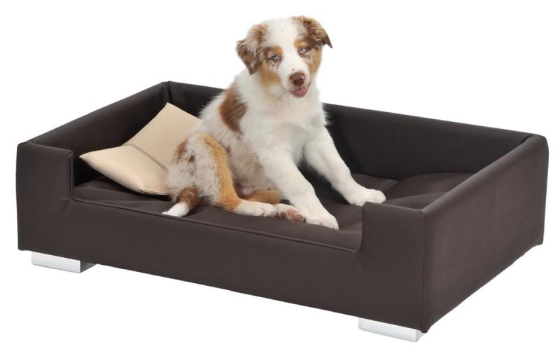 Hunde-Sofa aus Kunst-Leder mit Deko-Kissen in grau braun oder nougat