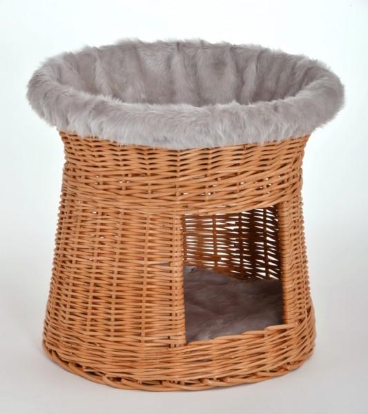 """Korb-Turm Schlaf-Platz für kleine Hunde oder Katzen """"Natur"""" aus Weiden-Geflecht"""