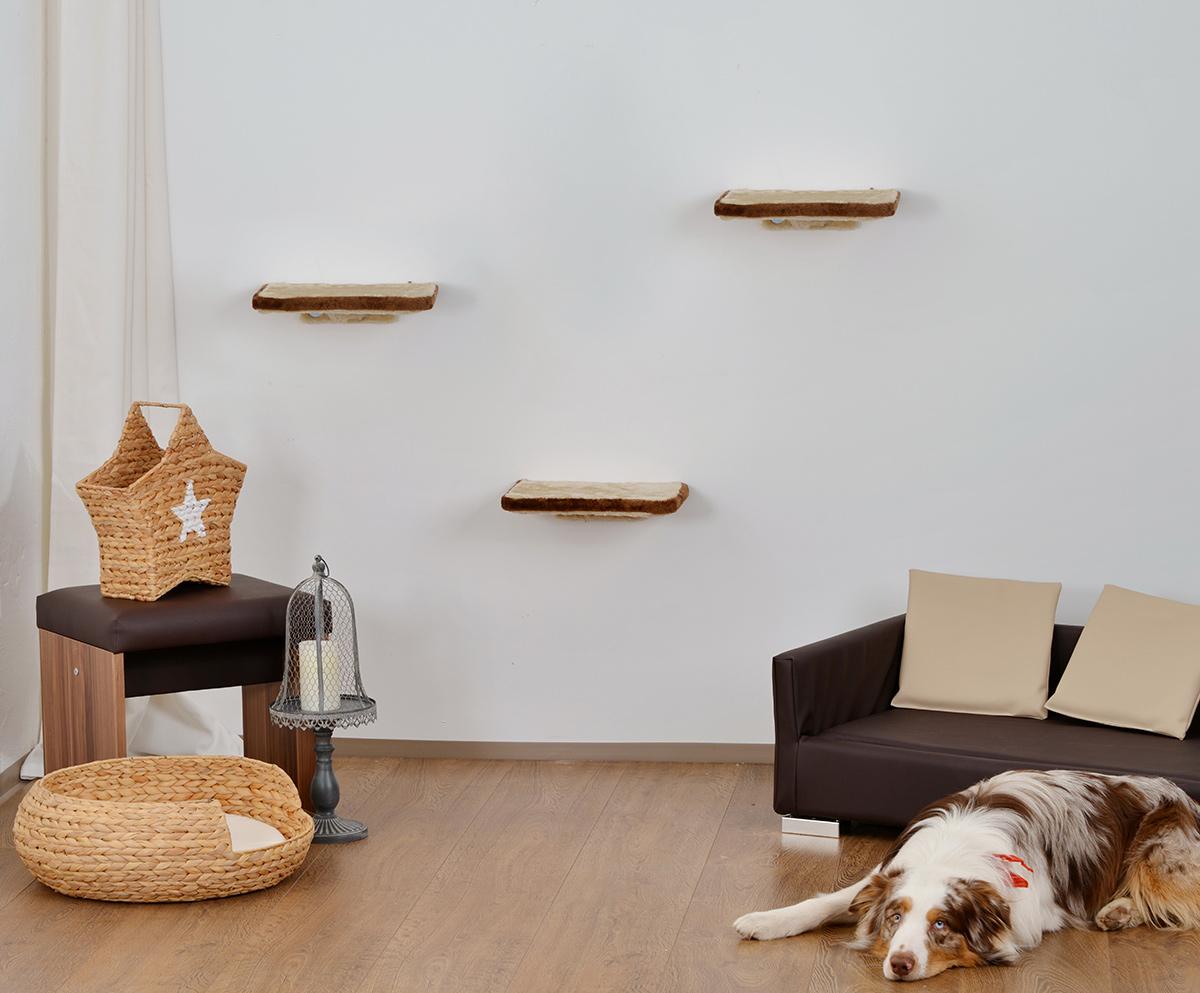 animal design katzen kletterwand 3 teilig wall katzenm bel platzsparende stabile katzentreppe. Black Bedroom Furniture Sets. Home Design Ideas
