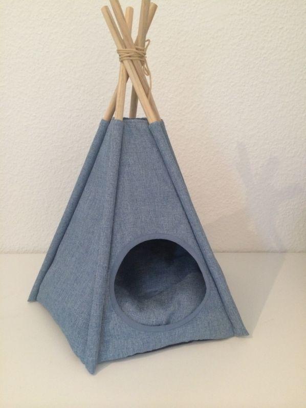 animal-design Tipi Zelt STOFF Jeans Optik kleine Hunde und Katzen  Hundebett Katzenbett Katzen-Höhle Hunde-Hütte mit rundem Eingang