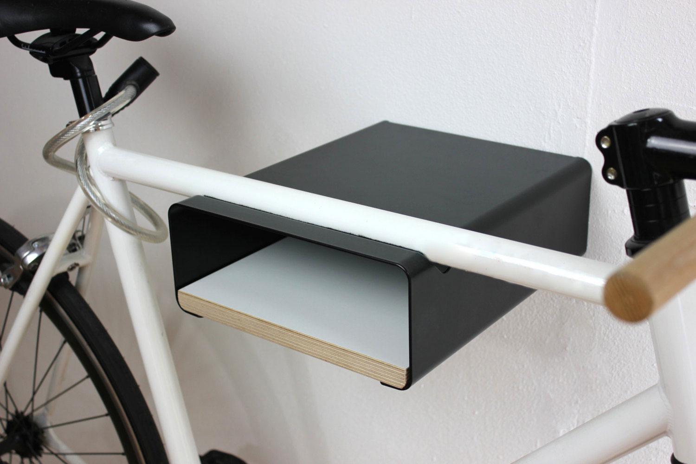 Fahrrad Wandhalter V Shelf - schwarz mit versch. Regalböden – Bild 7