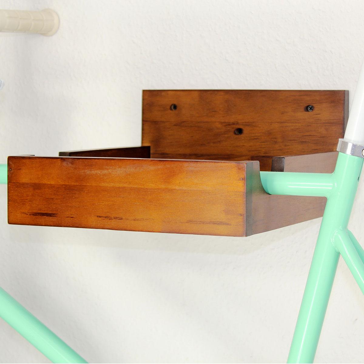 Fahrrad Wandhalterung Rubber Wood, nussbaum – Bild 4