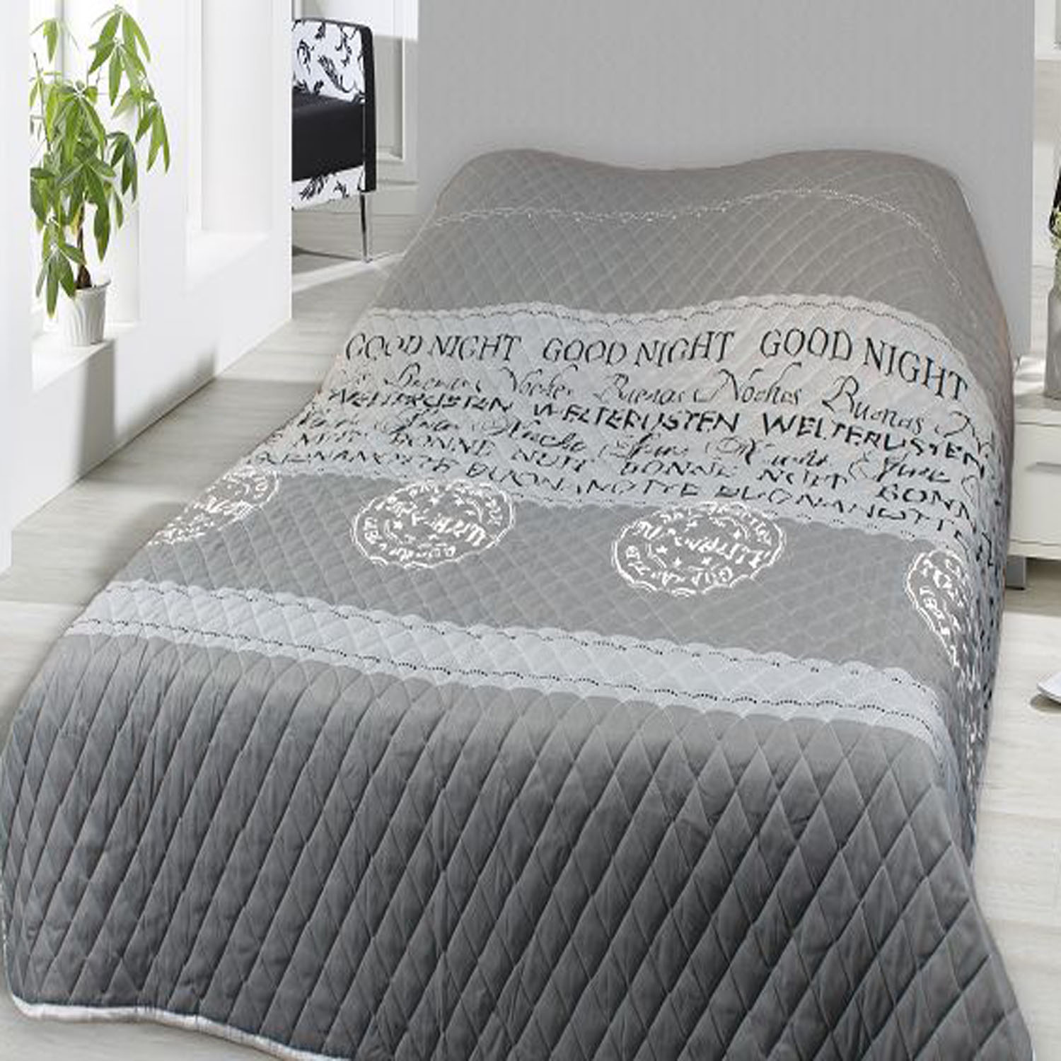tagesdecke bett berwurf 240x220cm good night heimtextilien tagesdecken. Black Bedroom Furniture Sets. Home Design Ideas
