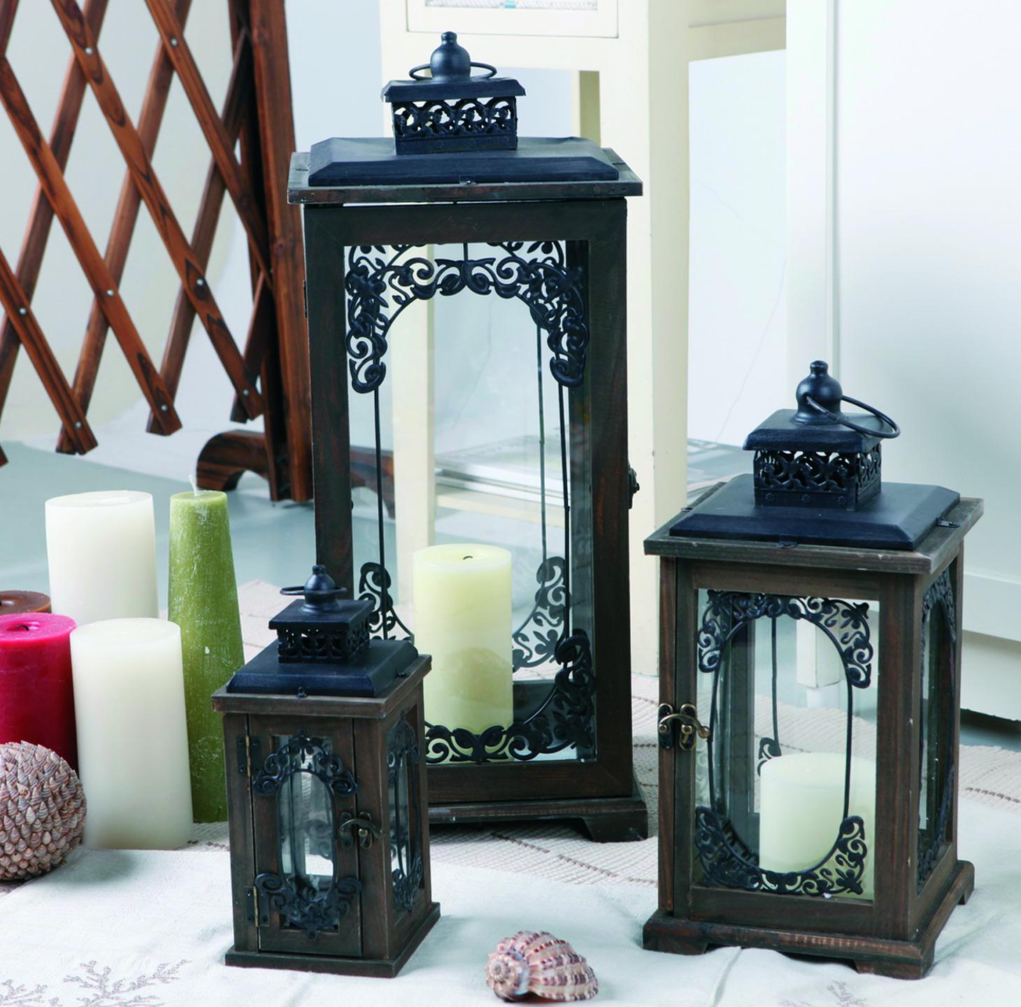 holz laternen set 3er antik braun 23 5 36 57 cm ebay. Black Bedroom Furniture Sets. Home Design Ideas