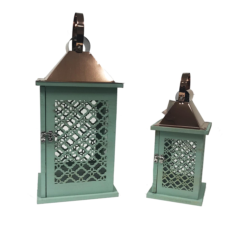 2tlg laternen set edelstahl holz mint kupferfarben m bel wohnen dekoration. Black Bedroom Furniture Sets. Home Design Ideas