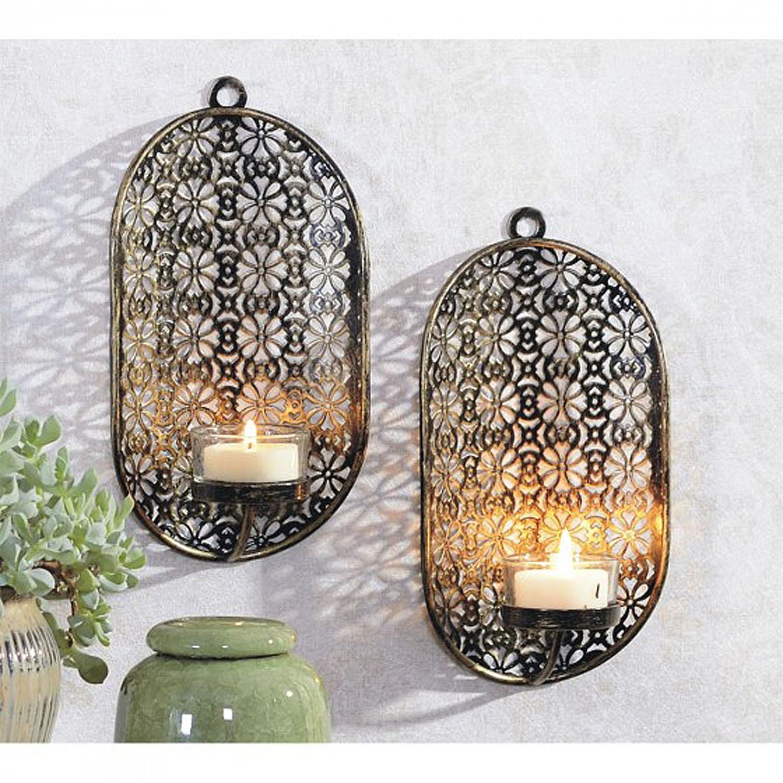 2er set wandkerzenhalter f r teelichter oval schwarz gold m bel wohnen dekoration - Wandkerzenhalter schwarz ...