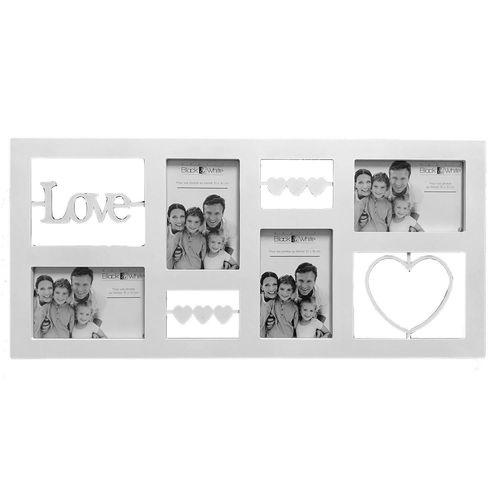 Bilderrahmen 59,5x28x2cm für 4 Bilder mit Schriftzug Love und Herzen weiß
