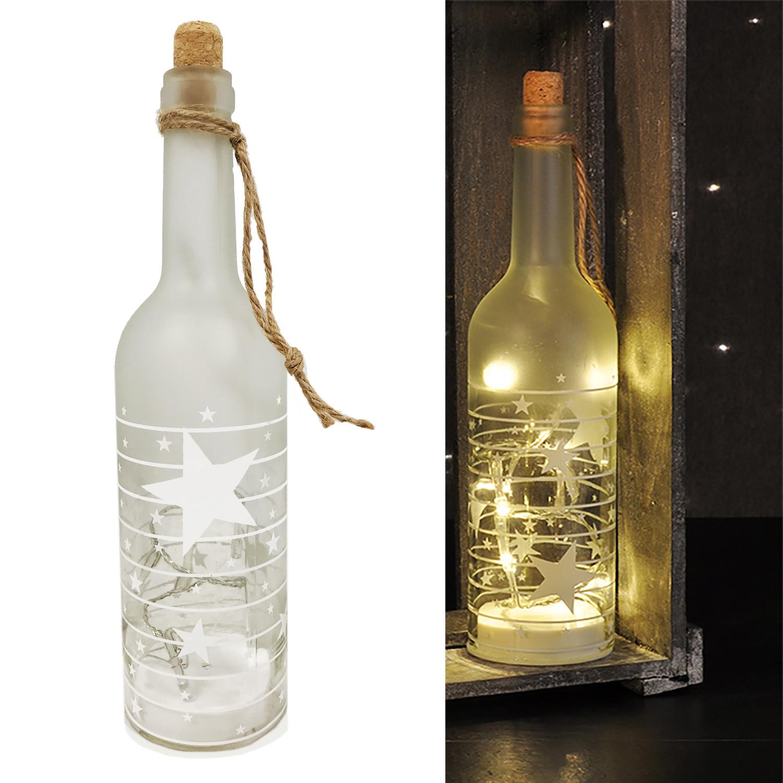 led deko glas flasche weihnachtsmotiv sterne warm wei. Black Bedroom Furniture Sets. Home Design Ideas