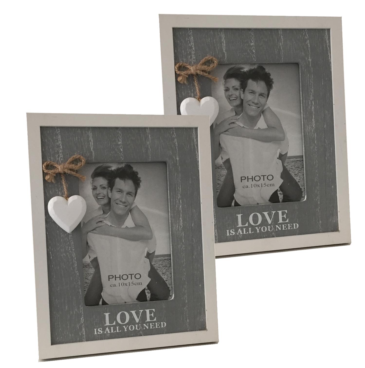 2 Stück Bilderrahmen ca. 23x18x1,5cm mit Schriftzug Love und ...