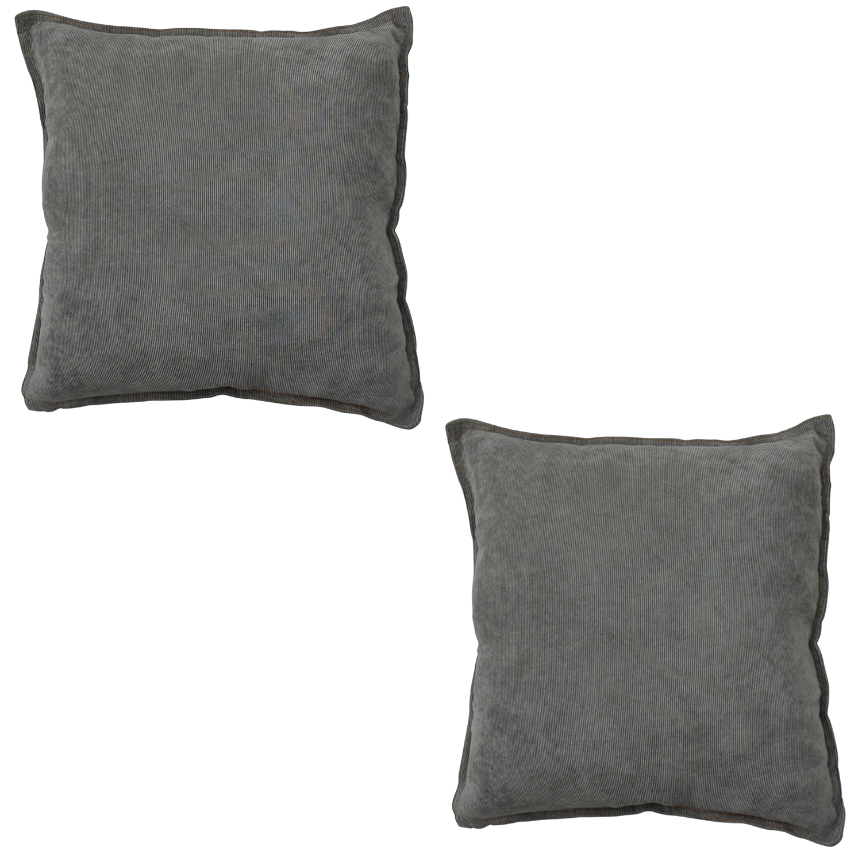 2er set sofakissen grau dekokissen 60x60x20cm cord kissen. Black Bedroom Furniture Sets. Home Design Ideas