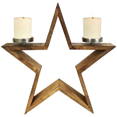XXL massiver Stern-Kerzenständer aus Mangoholz H47cm – Bild 1