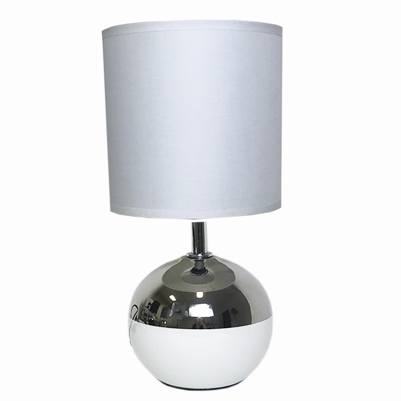 Tischlampe chrom wei mit wei em lampenschirm m bel for Lampenschirm tischlampe