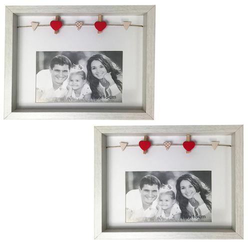2er Bilderrahmen für je 1 Foto Weiß H18,5xB22,5xT3cm
