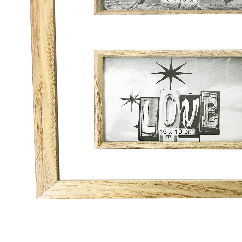 xl holz bilderrahmen 8 fotos10x15cm naturfarben m bel wohnen bilderrahmen. Black Bedroom Furniture Sets. Home Design Ideas