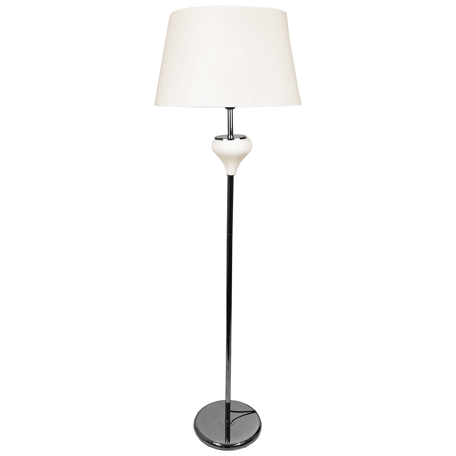 chrom stehlampe leselampe leseleuchte modern chrom metall mit stoffschirm creme ebay. Black Bedroom Furniture Sets. Home Design Ideas