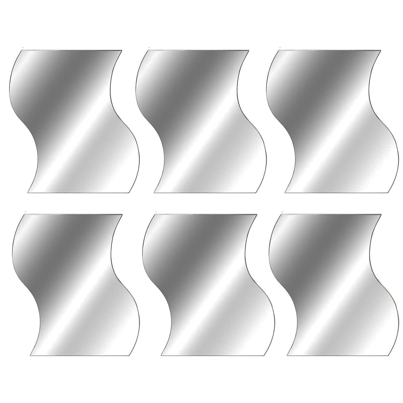 Stück Spiegelfliesen Wellenform Wandspiegel Klebefliesen Je Cm X - Spiegel fliesen anbringen