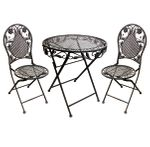 Eisen Bistro Set Antik Design Braun