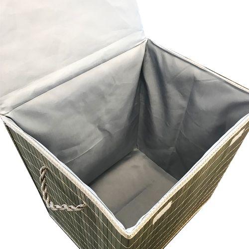 Bambus Wäschekorb Olivgrün 41 x 32 x 45 cm – Bild 2