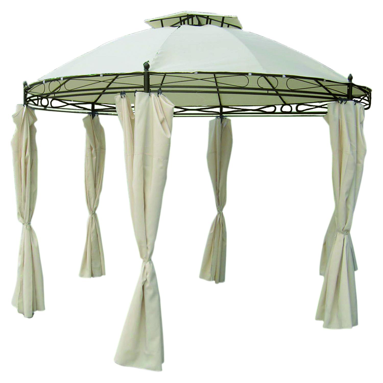 Luxus Pavillon Festzelt Gartenpavillon Zelt inkl Seitenteile beige rund Ø 350cm