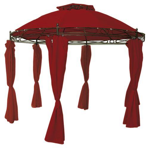 Garten-Pavillon mit Seitenteilen rund rot Ø350cm