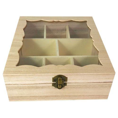 Teebox Holz Natur mit Glasdeckel 8 Fächer – Bild 4