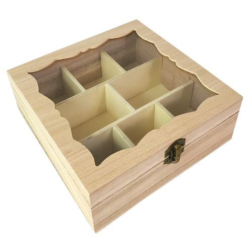Teebox Holz Natur mit Glasdeckel 8 Fächer – Bild 3