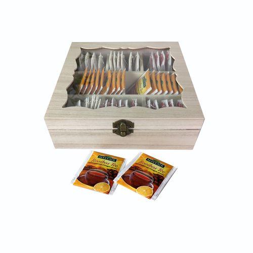 Teebox Holz Natur mit Glasdeckel 8 Fächer – Bild 1