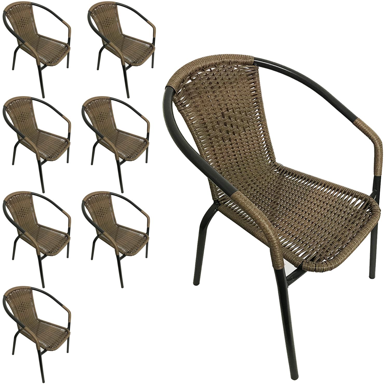 8 Stück Bistrostuhl Gartenstuhl Stapelstuhl Polyrattanbespannung Campingstuhl