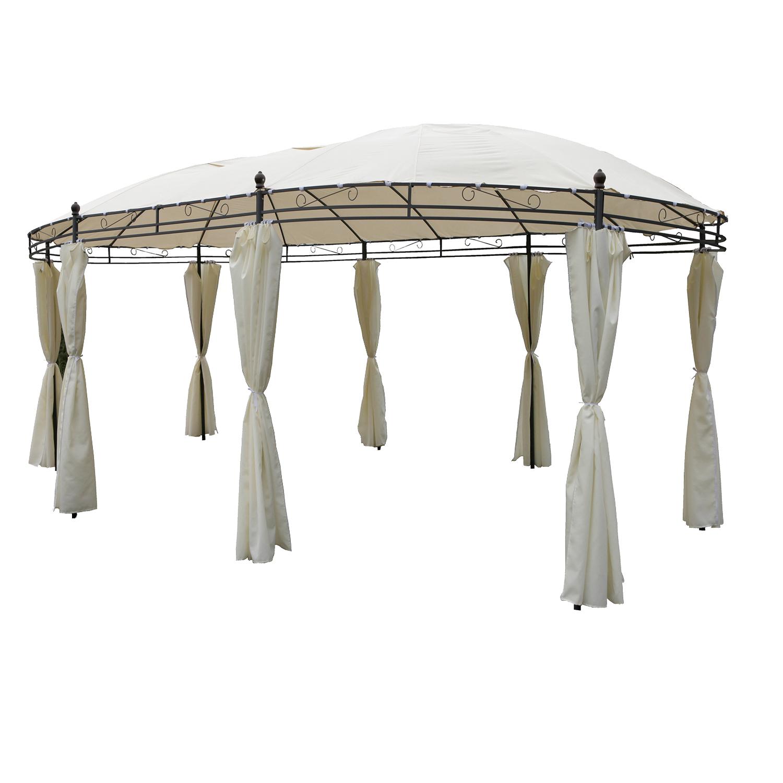 garten pavillon mit seitenteilen oval beige l530xb350xh260cm garten sonstiges. Black Bedroom Furniture Sets. Home Design Ideas