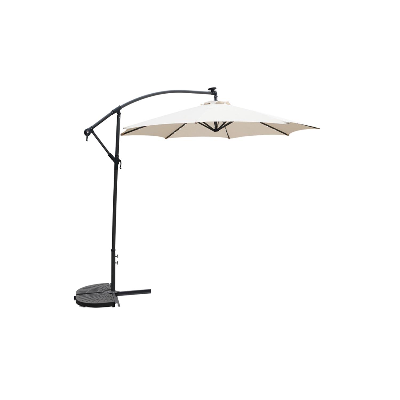 ampelschirm 3m mit kurbel und led solarbeleuchtung in beige garten sonnenschirme. Black Bedroom Furniture Sets. Home Design Ideas