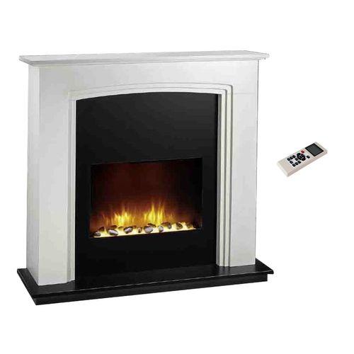Elektrisches LED Kaminfeuer mit Fernbedienung und MDF Umrandung H100xB109xT26cm – Bild 1