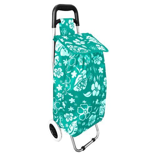 Einkaufstrolley Mint mit Blumenmuster + Rädern / klappbar