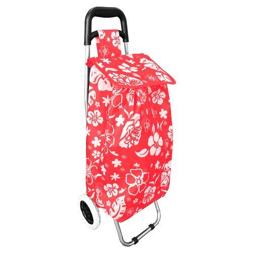 Einkaufstrolley Rot mit Blumenmuster + Rädern / klappbar