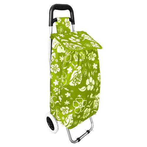 Einkaufstrolley Lemon-Grün mit Blumenmuster + Rädern / klappbar