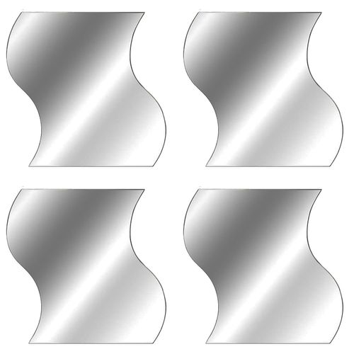 4er Spiegelfliesen Wellenform je 19,7x19,7cm