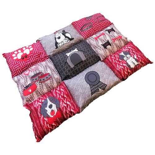 Hundebett / Kissen / Teppich Rot/Grau 55x80x6cm