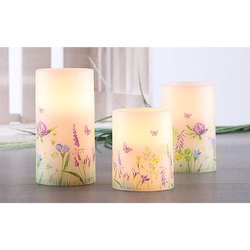 3tlg Frühlingskerzen LED Wachs-Kerzen-Set weiß