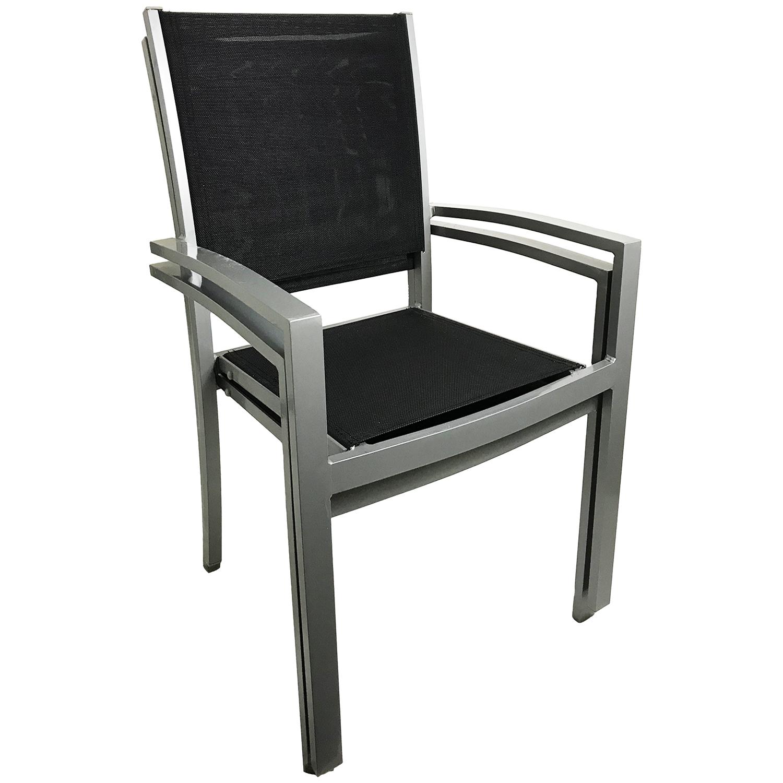 2 st ck stapelstuhl aluminium textilen silbergrau. Black Bedroom Furniture Sets. Home Design Ideas
