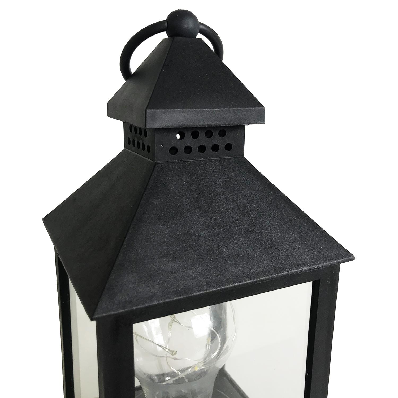 neuheit led laterne lampe gl hbirne schwarz au en batterie betrieben h24cm ebay. Black Bedroom Furniture Sets. Home Design Ideas
