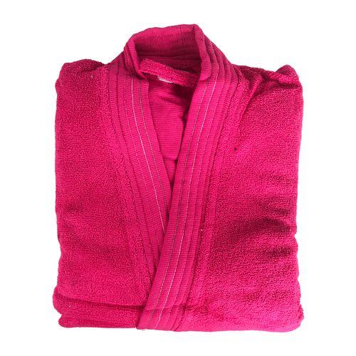 Hochwertiger Baumwoll Bademantel Pink in Kulturtasche Größe L – Bild 2