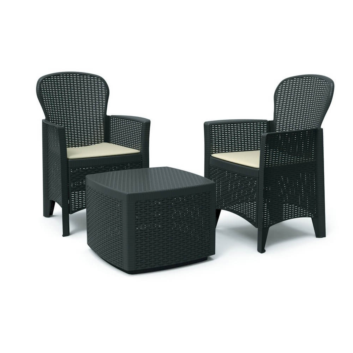 garten set sessel stuhlpolster tisch anthrazit rattan optik garten gartentische bistrotische. Black Bedroom Furniture Sets. Home Design Ideas