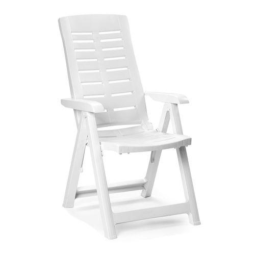 2 Stück Klappstuhl Kunststoff Weiß 5-Positionen – Bild 2