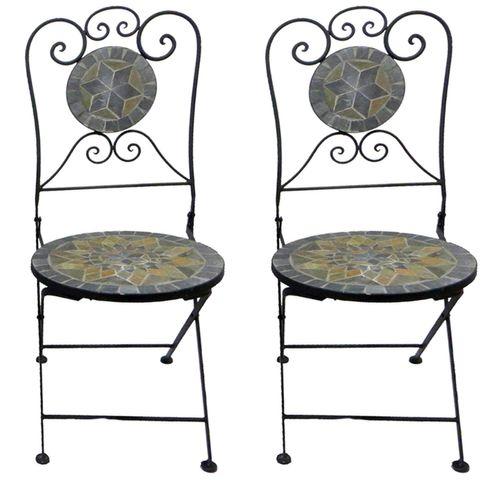 2 Stück Mosaik Klappstuhl Stern Design – Bild 1