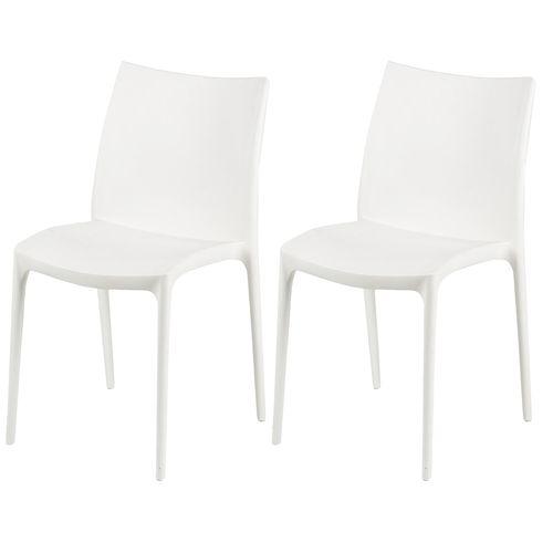 "2 Stück Stapelstuhl ""Modern"" Kunststoff Weiß – Bild 1"